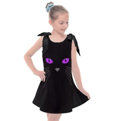 Cat Face Black Cat Kids  Tie Up Tunic Dress