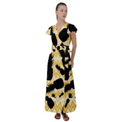 Ananas Chevrons Noir/jaune Flutter Sleeve Maxi Dress