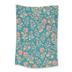 Teal Floral Paisley Small Tapestry by mccallacoulture