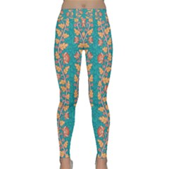 Teal Floral Paisley Stripes Classic Yoga Leggings by mccallacoulture