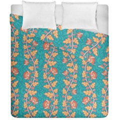 Teal Floral Paisley Stripes Duvet Cover Double Side (california King Size) by mccallacoulture