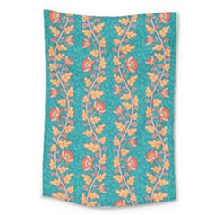 Teal Floral Paiselu Stripes Large Tapestry by mccallacoulture