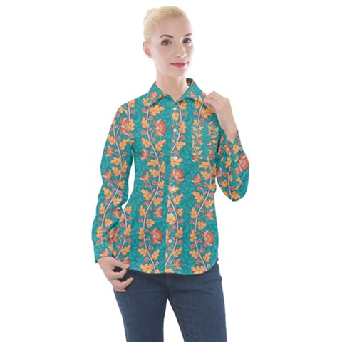 Teal Floral Paisley Stripes Women s Long Sleeve Pocket Shirt by mccallacoulture