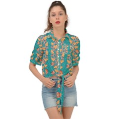 Teal Floral Paisley Stripes Tie Front Shirt  by mccallacoulture