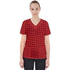 Damiers Abstrait Rouge/noir Women s V Neck Scrub Top