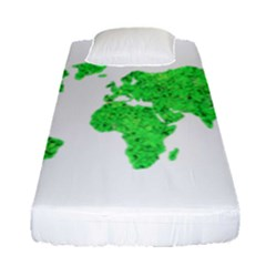 Environment Concept World Map Illustration Fitted Sheet (single Size) by dflcprintsclothing