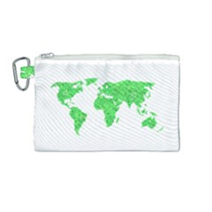 Environment Concept World Map Illustration Canvas Cosmetic Bag (medium)