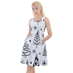 Seamless Pattern With Christmas Trees Knee Length Skater Dress With Pockets