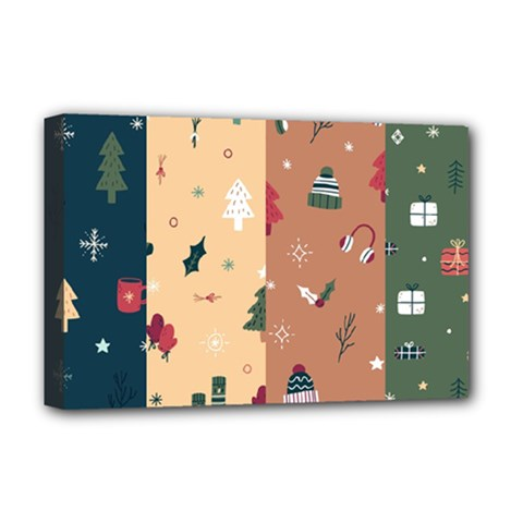 Flat Design Christmas Pattern Collection Deluxe Canvas 18  X 12  (stretched)