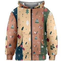 Flat Design Christmas Pattern Collection Kids  Zipper Hoodie Without Drawstring