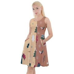 Flat Design Christmas Pattern Collection Knee Length Skater Dress With Pockets