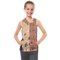 Flat Design Christmas Pattern Collection Kids  Sleeveless Hoodie