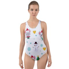 Christmas Seamless Pattern With Cute Kawaii Mouse Cut-out Back One Piece Swimsuit