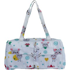 Christmas Seamless Pattern With Cute Kawaii Mouse Multi Function Bag