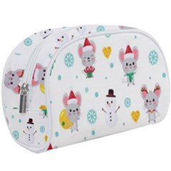 Christmas Seamless Pattern With Cute Kawaii Mouse Makeup Case (large)