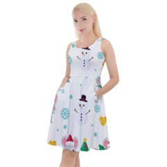 Christmas Seamless Pattern With Cute Kawaii Mouse Knee Length Skater Dress With Pockets