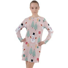 Cute Snowman Christmas Season Seamless Pattern Long Sleeve Hoodie Dress