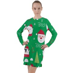 Cute Face Christmas Character Cute Santa Claus Reindeer Snowman Penguin Long Sleeve Hoodie Dress
