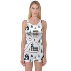 Abstract Seamless Pattern With Cute Houses Trees Road One Piece Boyleg Swimsuit