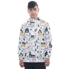 Abstract Seamless Pattern With Cute Houses Trees Road Men s Front Pocket Pullover Windbreaker