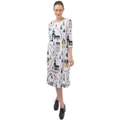 Abstract Seamless Pattern With Cute Houses Trees Road Ruffle End Midi Chiffon Dress