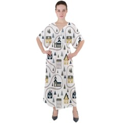 Abstract Seamless Pattern With Cute Houses Trees Road V-neck Boho Style Maxi Dress by Vaneshart