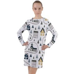 Abstract Seamless Pattern With Cute Houses Trees Road Long Sleeve Hoodie Dress