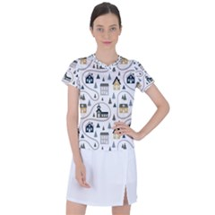 Abstract Seamless Pattern With Cute Houses Trees Road Women s Sports Top