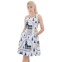 Abstract Seamless Pattern With Cute Houses Trees Road Knee Length Skater Dress With Pockets