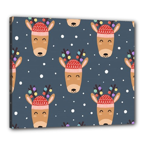 Cute Deer Heads Seamless Pattern Christmas Canvas 24  X 20  (stretched)