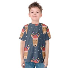 Cute Deer Heads Seamless Pattern Christmas Kids  Cotton Tee