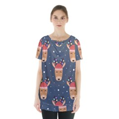 Cute Deer Heads Seamless Pattern Christmas Skirt Hem Sports Top