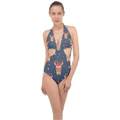 Cute Deer Heads Seamless Pattern Christmas Halter Front Plunge Swimsuit by Vaneshart