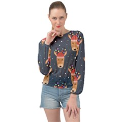 Cute Deer Heads Seamless Pattern Christmas Banded Bottom Chiffon Top