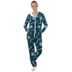 Christmas Seamless Pattern With Candies Snowflakes Women s Tracksuit