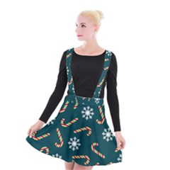 Christmas Seamless Pattern With Candies Snowflakes Suspender Skater Skirt