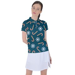 Christmas Seamless Pattern With Candies Snowflakes Women s Polo Tee