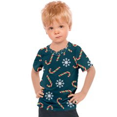 Christmas Seamless Pattern With Candies Snowflakes Kids  Sports Tee
