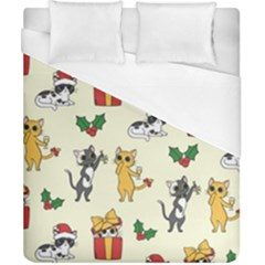Christmas Funny Pattern Cat Duvet Cover (california King Size) by Vaneshart