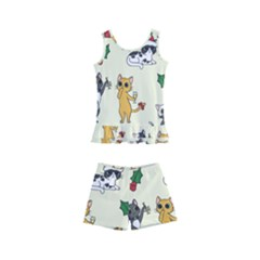 Christmas Funny Pattern Cat Kids  Boyleg Swimsuit by Vaneshart