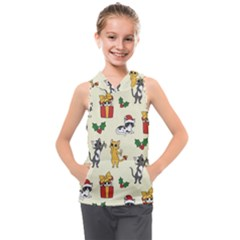 Christmas Funny Pattern Cat Kids  Sleeveless Hoodie