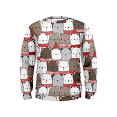 Cute Adorable Bear Merry Christmas Happy New Year Cartoon Doodle Seamless Pattern Kids  Sweatshirt