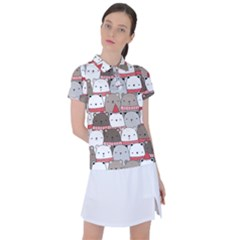 Cute Adorable Bear Merry Christmas Happy New Year Cartoon Doodle Seamless Pattern Women s Polo Tee
