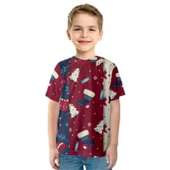 Flat Design Christmas Pattern Collection Art Kids  Sport Mesh Tee