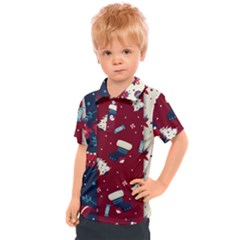 Flat Design Christmas Pattern Collection Art Kids  Polo Tee