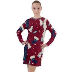 Flat Design Christmas Pattern Collection Art Long Sleeve Hoodie Dress