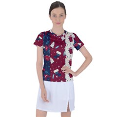 Flat Design Christmas Pattern Collection Art Women s Sports Top