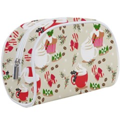 Christmas Coffe Cupcake Seamless Pattern Makeup Case (large)