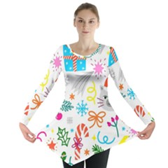 Funny Christmas Pattern Long Sleeve Tunic