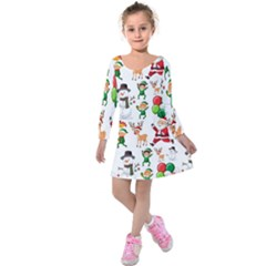 Seamless Pattern Christmas Kids  Long Sleeve Velvet Dress by Vaneshart